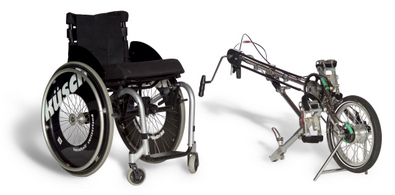 Te koop BerkelBike Classic invalide rollstoel met fiets en tobehoor