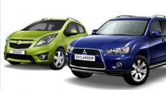 Nieuwe autos, mitsubishi, chevrolet