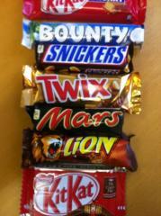 Chocoladerepen, Snickers, Mars, Bounty Twix, Kitkat,Nutella